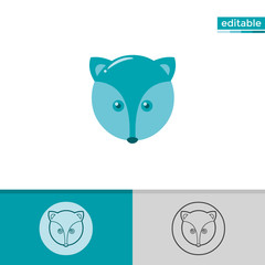 fox icon. cute animal illustration with blue color. monochrome