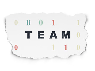 Business concept: Team on Torn Paper background