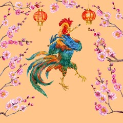 New year cock and blooming apricot. Watercolor.