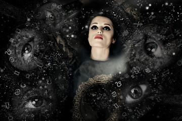 The woman in space, everywhere eyes and zodiac signs