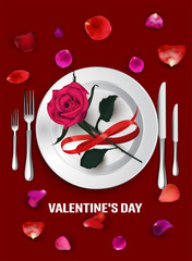 VALENTINE'S DAY BACKGROUND. PLATE AND CUTLERY, ROSE, PETALS. VECTOR ILLUSTRATION