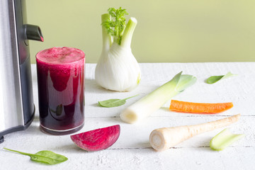 Juicer, red beetroot juice, other vegetables health diet detoxification concept