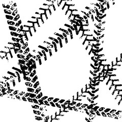 Black and white tire tread protector track grunge design, vector