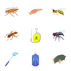 Bad pests icons set, cartoon style