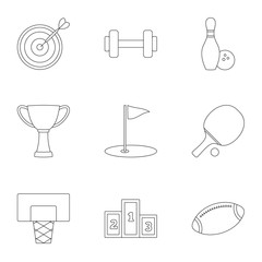 Training icons set, outline style