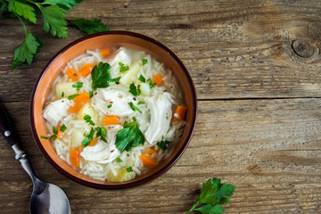 Fotobehang - Chicken soup with noodles