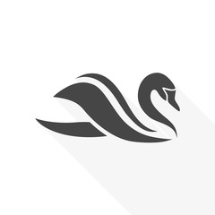 Swan Icon - vector Illustration with long shadow