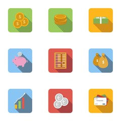 Bank and money icons set, flat style