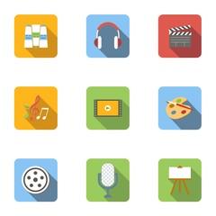 Types of art icons set, flat style