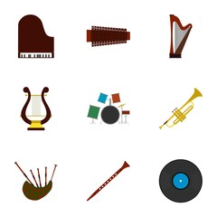 Musical tools icons set, flat style