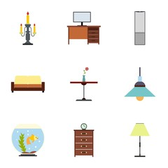 Type of furniture icons set, flat style