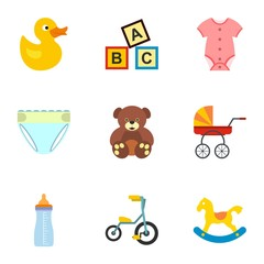 Child icons set, flat style