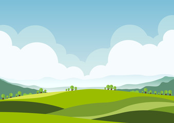 nature landscape background, cuted flat design