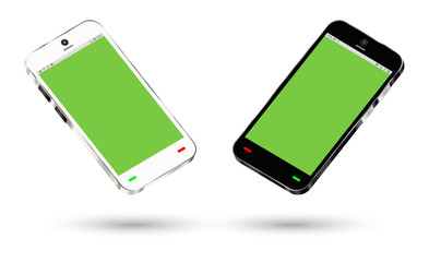 side view of a smartphone with a green screen