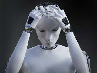 3D rendering of female robot looking sad.
