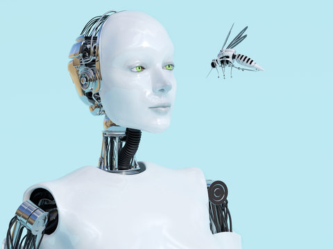 3D rendering of female robot looking at robotic mosquito.