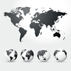 globes and map of world