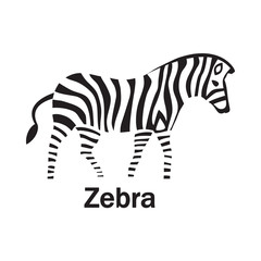 Zebra or horse silhouette on the white text