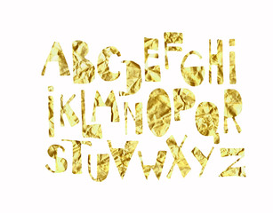 hand drawn fonts with gold paper texture. Abstract watercolor alphabet isolated on white background