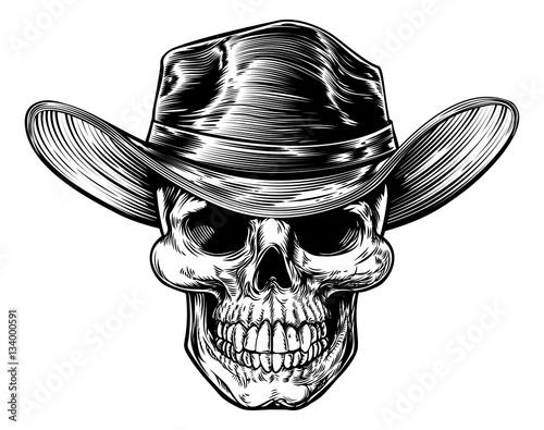 "skull cowboy hat drawing"" stock image and royalty-free vector"