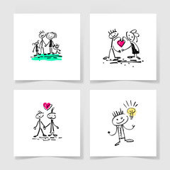 set of four marker hand drawing sketch doodle human stick figure