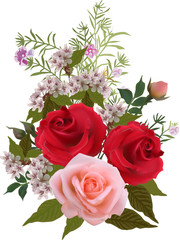 three large roses and small flowers on white