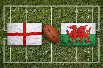 England vs. Wales flags on rugby field