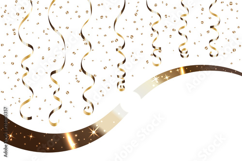 gold curly ribbon confetti golden serpentine on white background colorful streamers design decoration