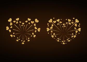 Heart fireworks gold set. Beautiful flat golden firework isolated on black background. Bright decoration design Valentine day, romantic love card, wedding celebration, festival Vector illustration