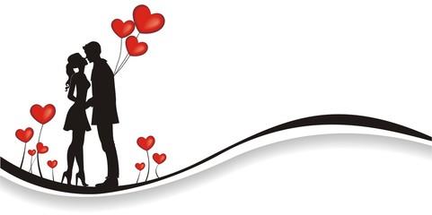 verliebtes Paar mit Herzballons