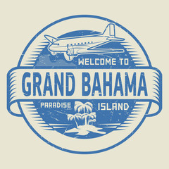 Stamp with the text Welcome to Grand Bahama, Paradise island