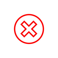 Cross sign element. Red X icon isolated on white background. Simple mark graphic design. Round button for vote, decision, web. Symbol of error, check, wrong or stop, failed. Vector illustration