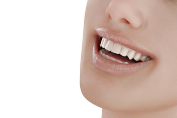 Illustration of dental care. Perfect teeth. Close-up of beautiful and healthy woman smile. 3d render.