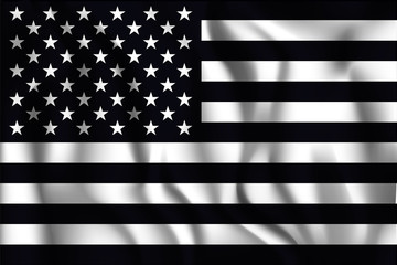 Black and White American Flag. Rectangular Shaped Icon with Wavy