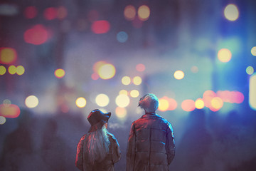 back view of couple in love walking on street of city at night,illustration painting