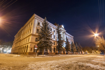Building of Medical Academy in Ivano-Frankivsk, Ukraine at night