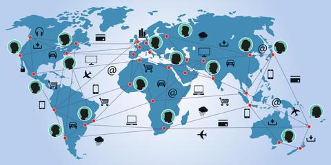 Communication - connexion - Planisphère - Echange
