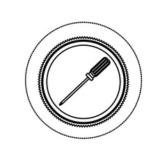 monochrome silhouette sticker with circular frame with screwdriver vector illustration