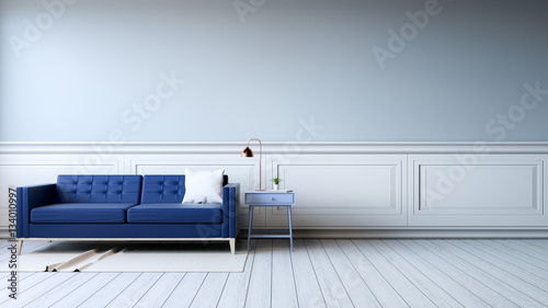 Modern Interior Of Living Room With Armchairs On White Flooring And