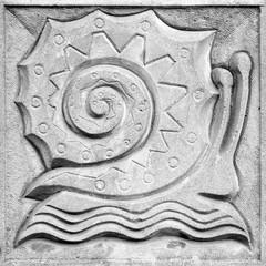 fabulous snail, bas-relief