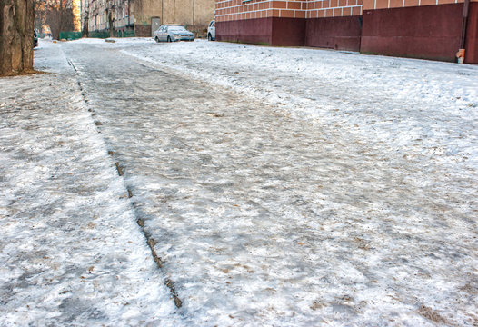 pavementd covered with ice