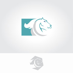 Horse  flame Logo design vector template negative space style. Inferno Stallion equestrian Logotype. Speed Mustang icon.