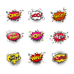 Comic speech bubbles and splashes set with different emotions and text Wow, Omg, Oh Yeah, Shit, No, Yes, Epic Shit, Win, Loser. Vector bright dynamic cartoon illustrations isolated on white background