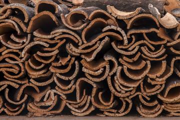 raw cork planks stacking