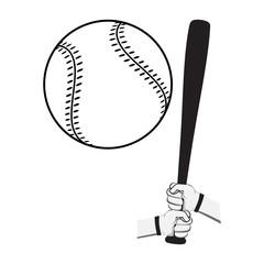 Hands holding baseball bat and big ball.