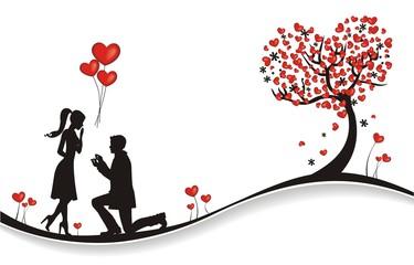 verliebtes Paar bei einem Heiratsantrag