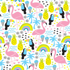 seamless tropical flamingo and toucan pattern vector illustration