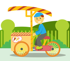 Ice Cream Seller Riding His Tricycle Ice Cream Cart on Street Cartoon Illustration