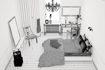 CAD Planung von einem Schlafzimmer