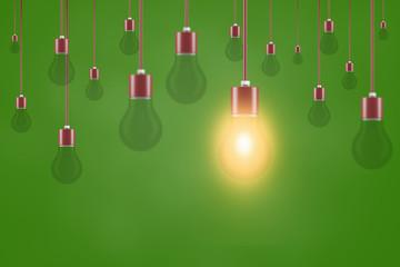Energie sparen Idee mit Glübirnen